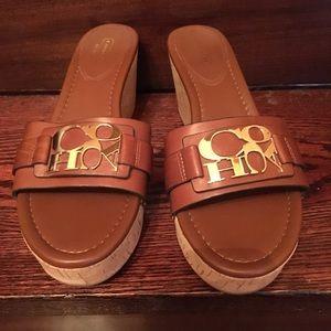 Coach leather cork wedge sandal
